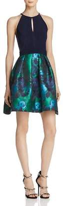 Aqua Brocade-Skirt Dress - 100% Exclusive