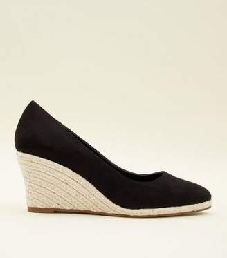 New Look Black Suedette Pointed Espadrille Wedges
