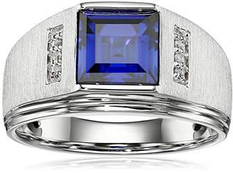 Gents Men's Sterling Silver Square Created Ceylon Sapphire and Diamond Ring