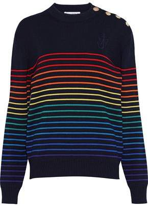 J.W.Anderson Button-detailed Striped Wool Sweater