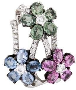 18K Sapphire & Diamond Flower Pendant