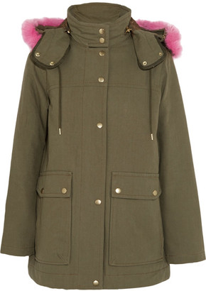 J.Crew - Collection Faux Fur-trimmed Cotton-canvas Parka - Army green $495 thestylecure.com
