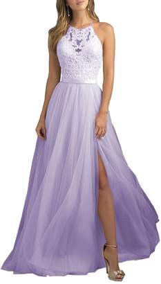 YORFORMALS Women's Halter A-line Lace Evening Prom Dress Long Formal Gown Side Slit