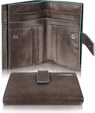 Piquadro Blue Square - Women's Leather Card Holder & ID Wallet