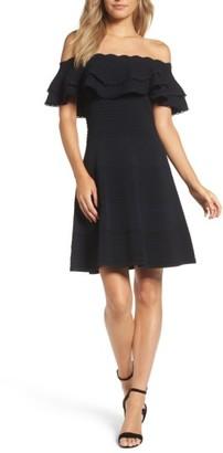 Women's Eliza J Off The Shoulder Fit & Flare Dress $138 thestylecure.com