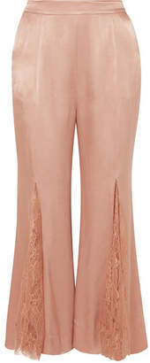 Alice McCall Run To You Lace-paneled Satin Flared Pants - Sand
