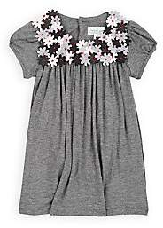 Isabel Garreton Infants' Flower-Embellished Stretch-Jersey Dress With Bloomers & Tights-Gray