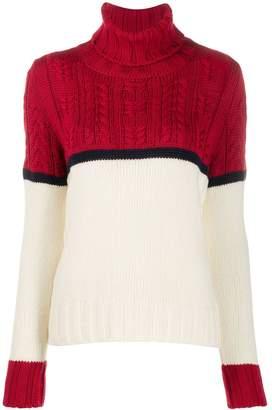 Zanone colour block cable knit jumper