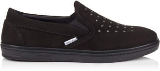 Jimmy Choo GROVE Black Suede Slip On Trainers with Gunmetal Mini Star Pattern