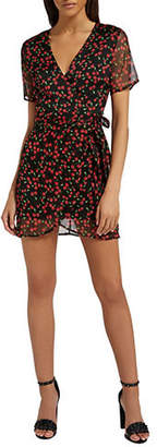 Missguided Cherry-Print Tie Waist Wrap Dress