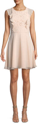 Nanette Lepore Nanette Lace-Top Sleeveless Fit-&-Flare Chiffon Dress