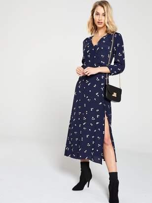 Warehouse Verity Ditsy Floral Midi Dress - Navy