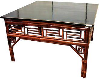 One Kings Lane Vintage Antique Bamboo & Elm Wood Coffee Table