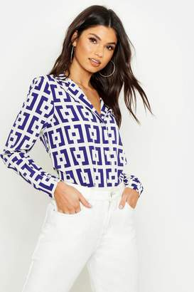 boohoo Relaxed Revere Collar Printed T-Shirt