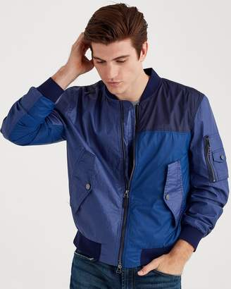 7 For All Mankind Mixed Media Bomber in Patchwork Blue