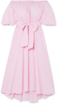 Paul & Joe Off-the-shoulder Belted Striped Cotton-poplin Midi Dress