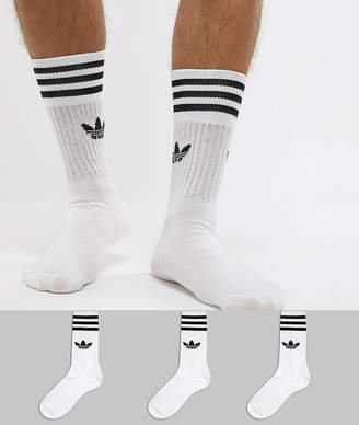 adidas solid crew 3 pack socks in white s21489