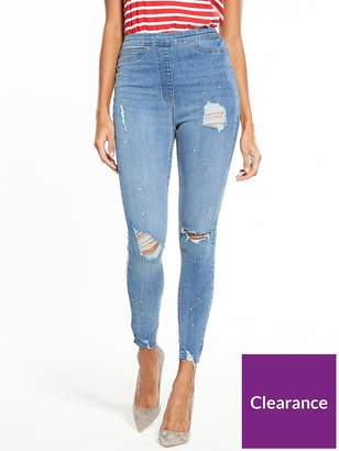 Very Tall Charley High Waisted Super Skinny Rip Jean - Light Wash