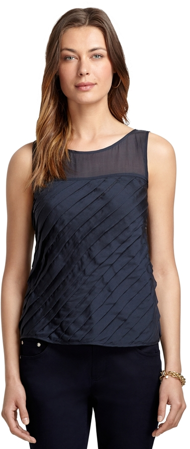 Brooks Brothers Sleeveless Silk Pleated Blouse