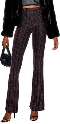 Topshop Glitter Stripe Flare Leg Pants