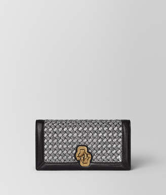 Bottega Veneta ANTIQUE SILVER INTRECCIATO KNITTED KNOT CLUTCH