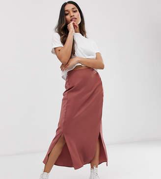 Asos DESIGN Petite bias cut satin midi skirt with splits