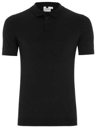 Topman Mens Black Muscle Knitted Polo