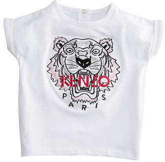 Kenzo Short-Sleeve Tiger Face T-Shirt, Size 12-18 Months