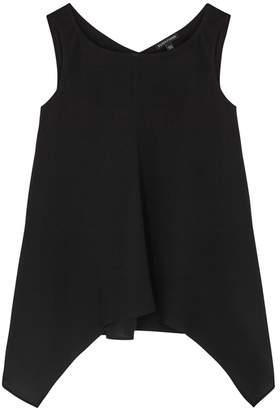 Eileen Fisher Black Draped Silk Chiffon Top