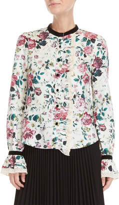 Manoush Floral Ruffled Linen Shirt