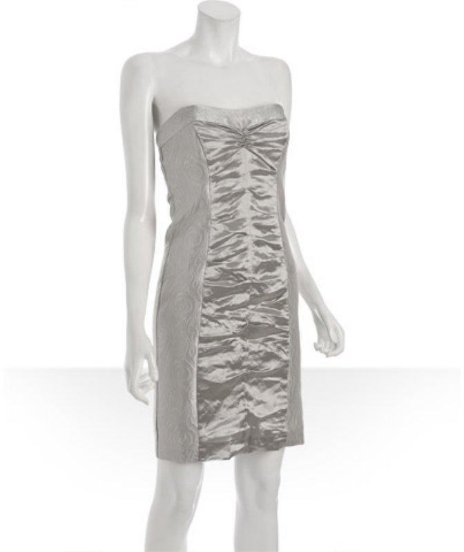 Nicole Miller silver lurex ruched detail strapless dress