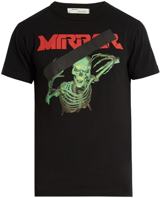 OFF-WHITE Skull Mirror-print cotton-jersey T-shirt $200 thestylecure.com