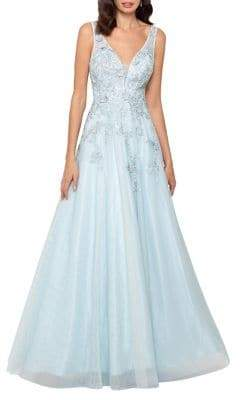 Xscape Evenings Embroidered Floral Ball Gown