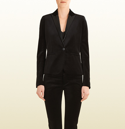 Gucci Black Velvet Blazer With Leather Lapels