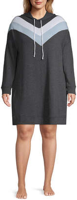 Flirtitude Long Sleeve Sweatshirt Dress-Juniors Plus