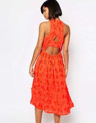 Whistles Applique Textured Midi Dress in Red $478 thestylecure.com