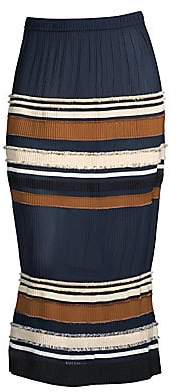 Derek Lam Women's Ribbed Stripe Midi Skirt