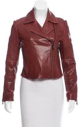 J Brand Notch-Collar Leather Jacket