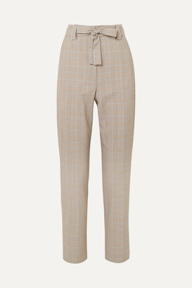 Maje Belted Checked Woven Tapered Pants - Stone