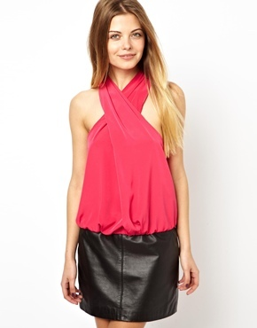 Asos Top with Drapey Halter - Pink