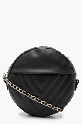 boohoo Chevron Quilted Structured Round Bag