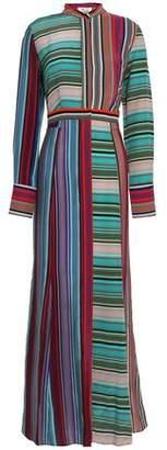 Diane von Furstenberg Striped Silk Crepe De Chine Maxi Shirt Dress