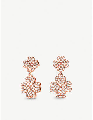 Folli Follie Miss Heart4heart four-leaf clover rose gold-plated and cubic zirconia earrings