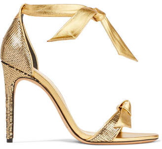 Alexandre Birman Clarita Bow-embellished Metallic Sequined Leather Sandals