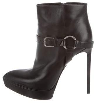 Saint Laurent Platform Pointed-Toe Ankle Boots Black Platform Pointed-Toe Ankle Boots