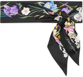 Dolce & Gabbana Floral-print Silk-twill Scarf - Black