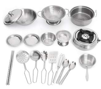 Grtsunsea 18Pcs Stainless Steel Kitchenware Pretend Role Play Chef Game Tools Set Kitchen Cooker Cooking Pot Pans Toys Kids Children Christmas Birthday Gift