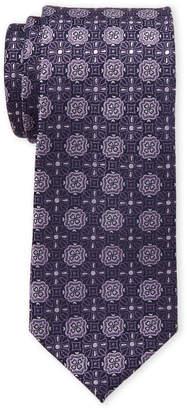 Isaac Mizrahi Navy & Purple Neat Medallion Silk Tie