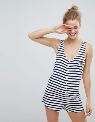 Asos Embroidered Be Kind Stripe Pyjama Romper