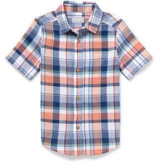 Children's Place The Boy's Short Sleeve Plaid Button Up Shirt